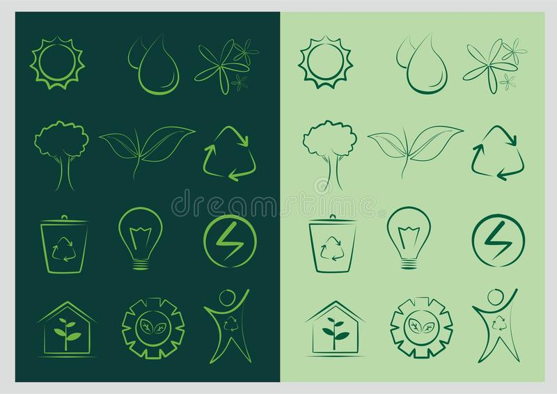 Foglia, pianta, logo, verde, vettore stabilito di ecologia illustrazione vettoriale