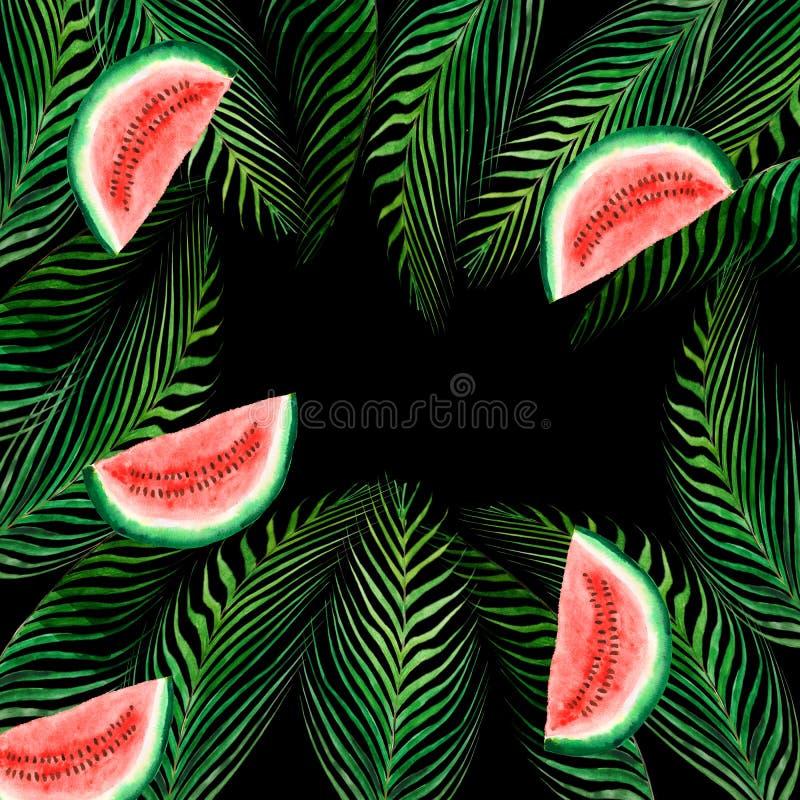 Foglia tropicale senza cuciture dell'acquerello e una fetta di anguria isolata su un fondo nero Illustrazione per la progettazion royalty illustrazione gratis