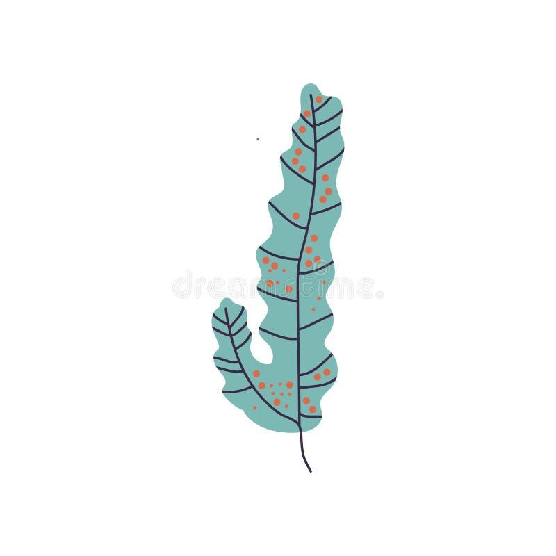 Foglia verde dell'alga, marinaio o pianta subacquea dell'acquario, illustrazione di vettore illustrazione vettoriale