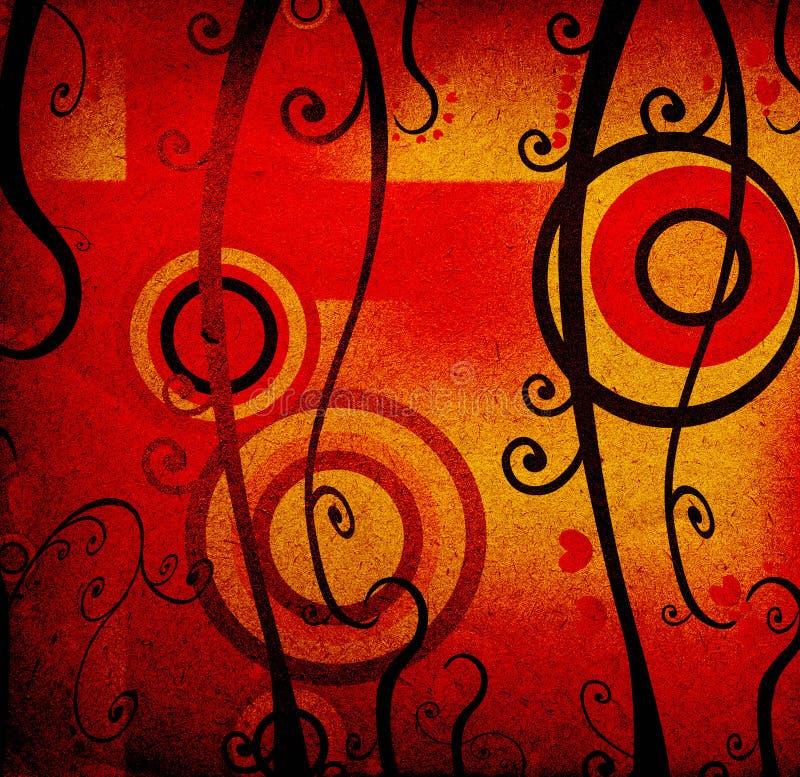 Fogliame, cuori rossi e cerchi, disegno del grunge illustrazione vettoriale