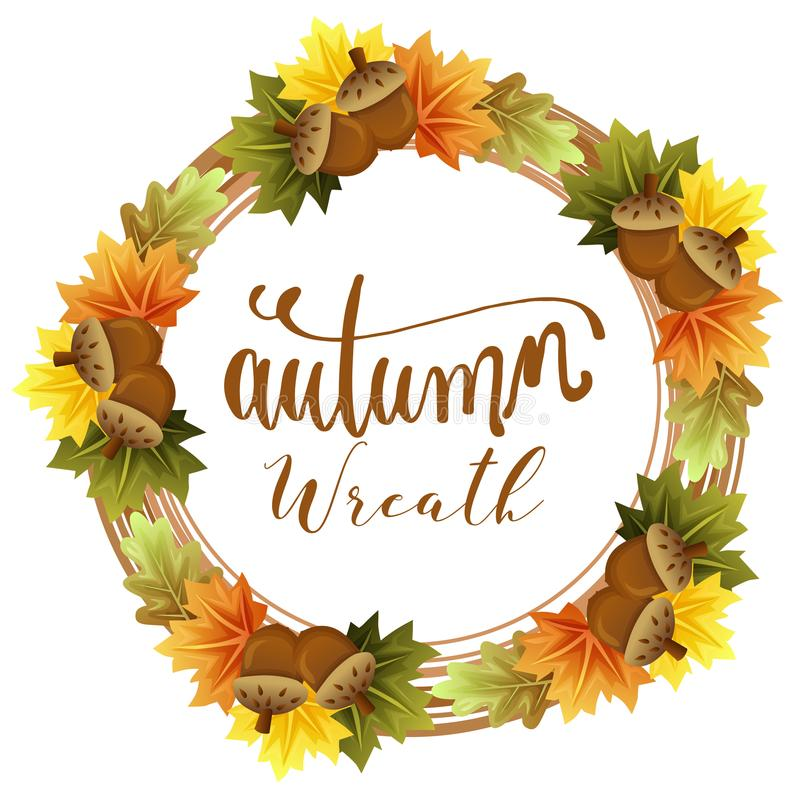 Fogliame della corona di autunno con la foglia di acero ed il dado royalty illustrazione gratis