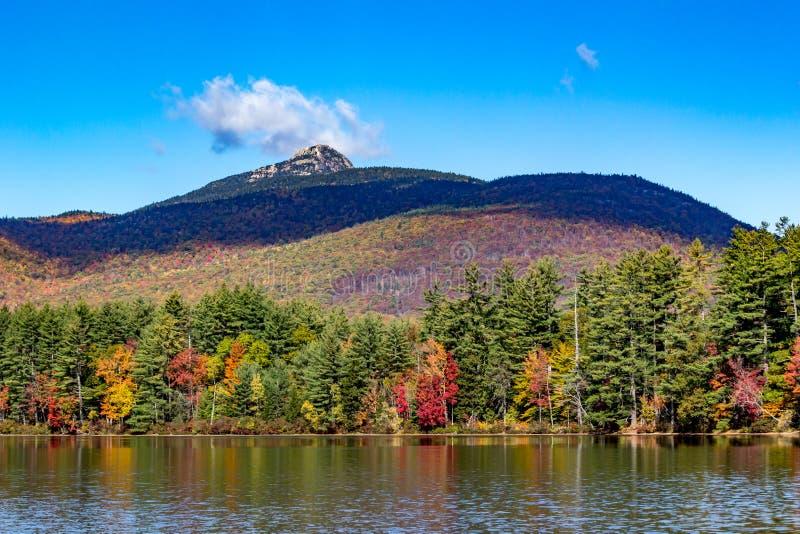 Fogliame di caduta sul lago con il contesto della montagna in New Hampshire fotografia stock libera da diritti