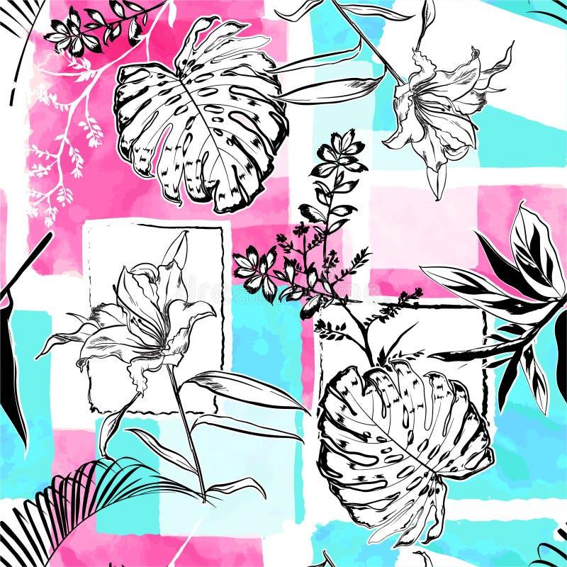 Foglie botaniche e tropicali di schizzo del disegno della mano sul vettore senza cuciture del modello di tono dolce dell'acquerel illustrazione di stock