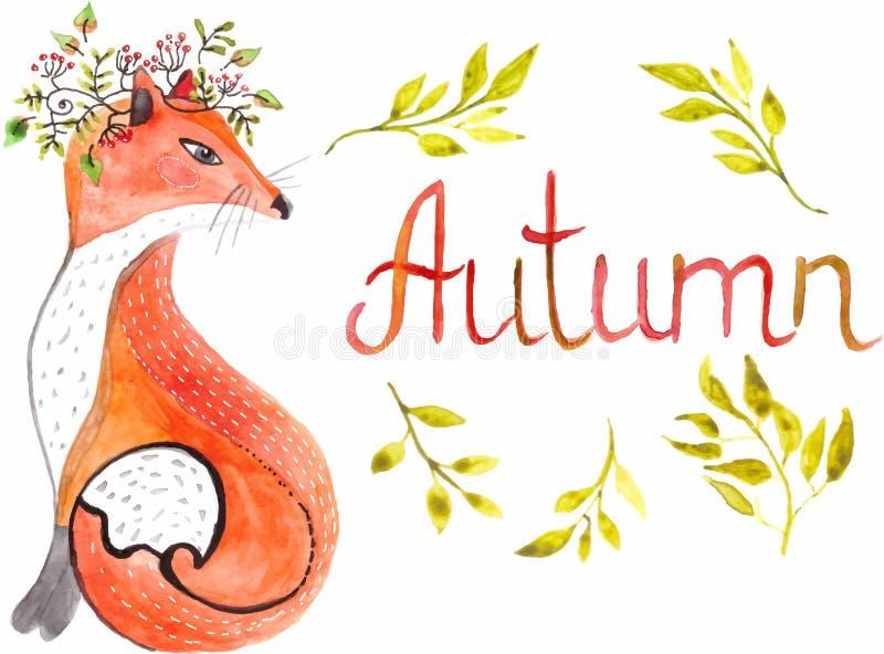 Foglie del anf della volpe dell'acquerello royalty illustrazione gratis