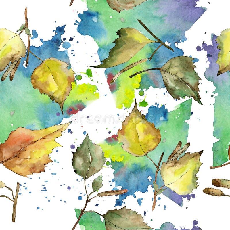 Foglie della betulla verde e gialla di autunno Fogliame floreale del giardino botanico della pianta della foglia Modello senza cu illustrazione vettoriale