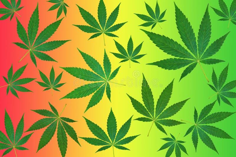 Foglie della cannabis sul modello variopinto del fondo illustrazione di stock