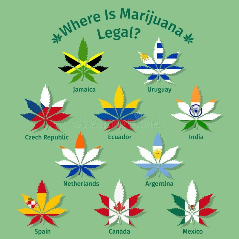 Foglie della marijuana con le bandiere internazionali illustrazione di stock