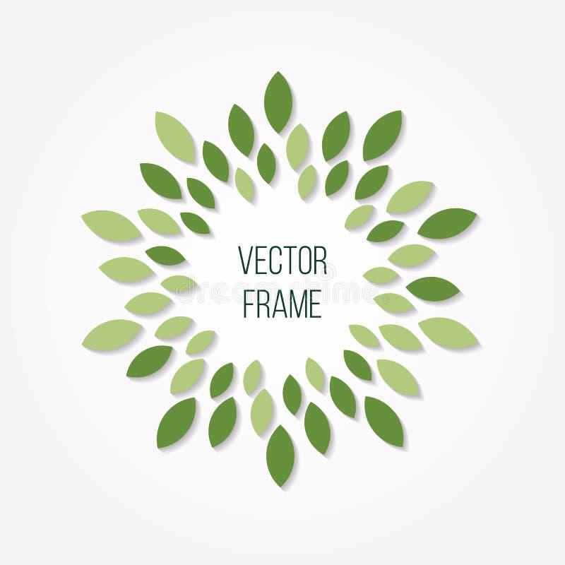 Foglie della primavera nella forma del cerchio Elemento verde rotondo di progettazione di logo Decorazione astratta dell'insegna illustrazione di stock