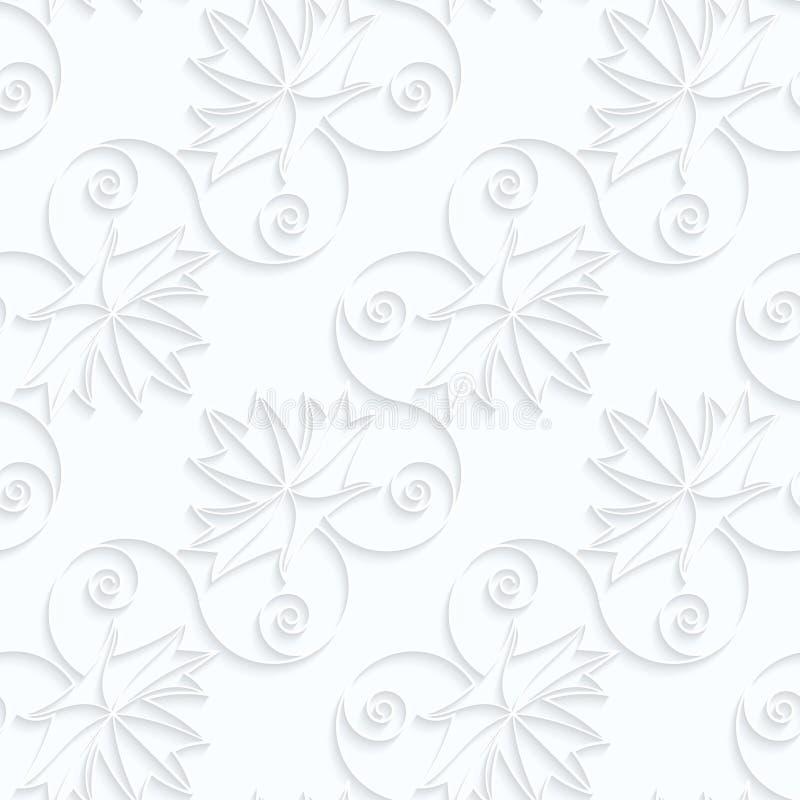 Foglie di acero diagonali di carta di Quilling con le vene e le coclee illustrazione di stock