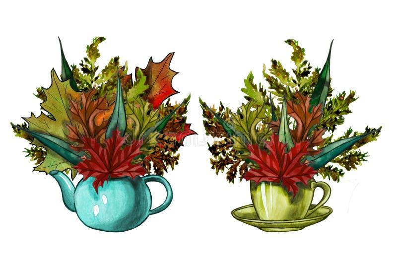Foglie di autunno dell'acquerello in una tazza illustrazione di stock