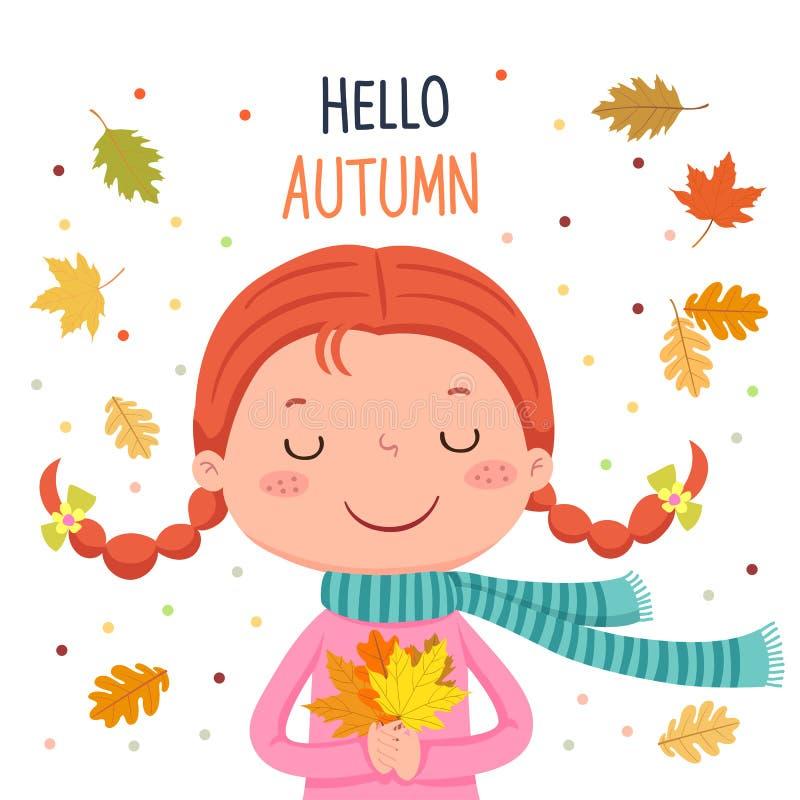Foglie di autunno della tenuta della ragazza Ciao illustrazione di autunno illustrazione di stock