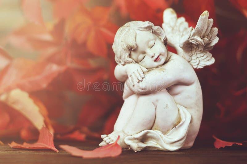 Foglie di autunno e di angelo custode fotografia stock