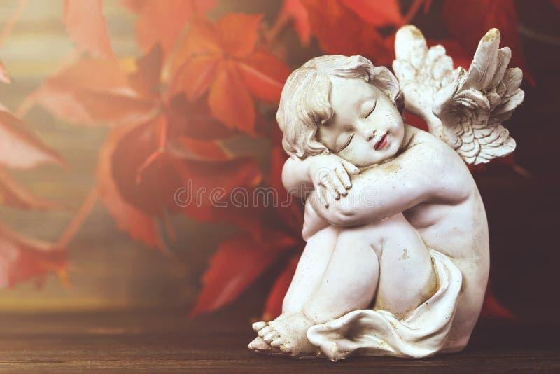 Foglie di autunno e di angelo custode fotografie stock libere da diritti