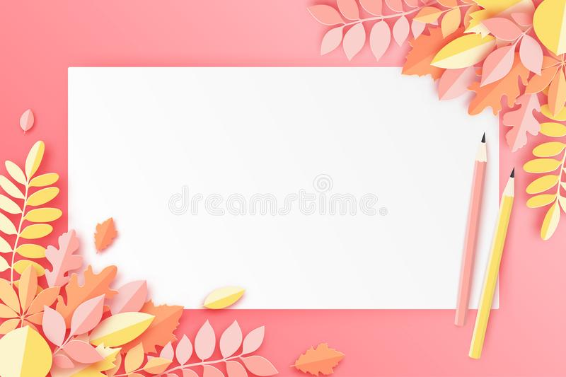 Foglie di autunno, foglio bianco di carta e matita, pastello colorato royalty illustrazione gratis