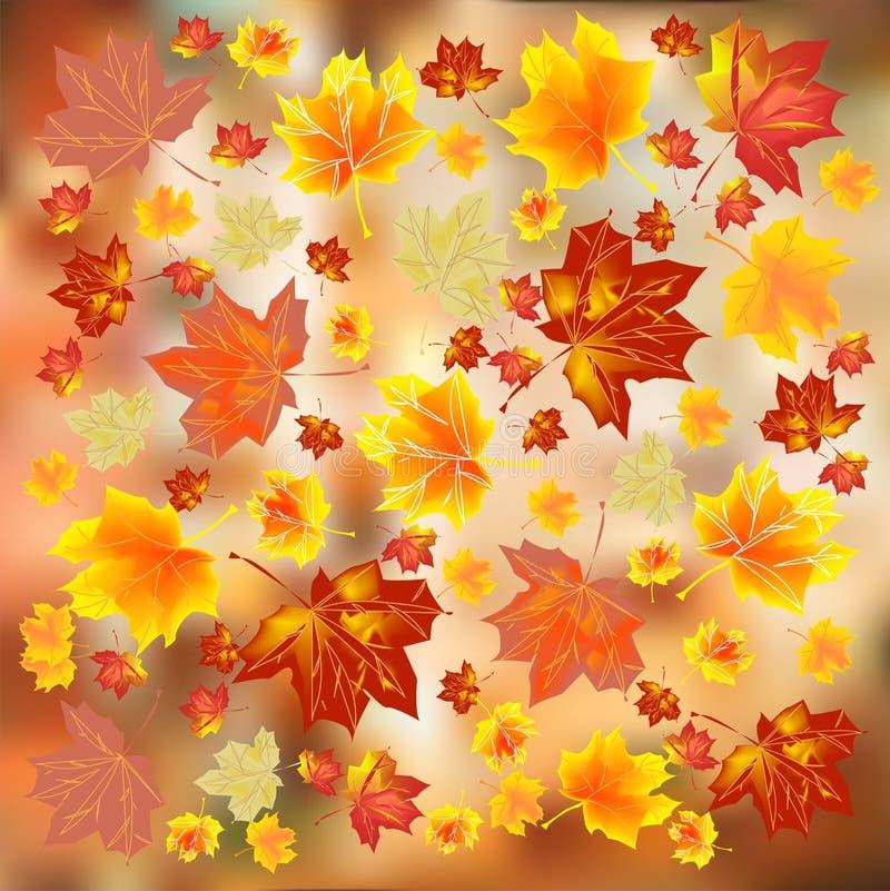 Foglie di autunno multicolori su un fondo luminoso Priorità bassa di autunno illustrazione vettoriale