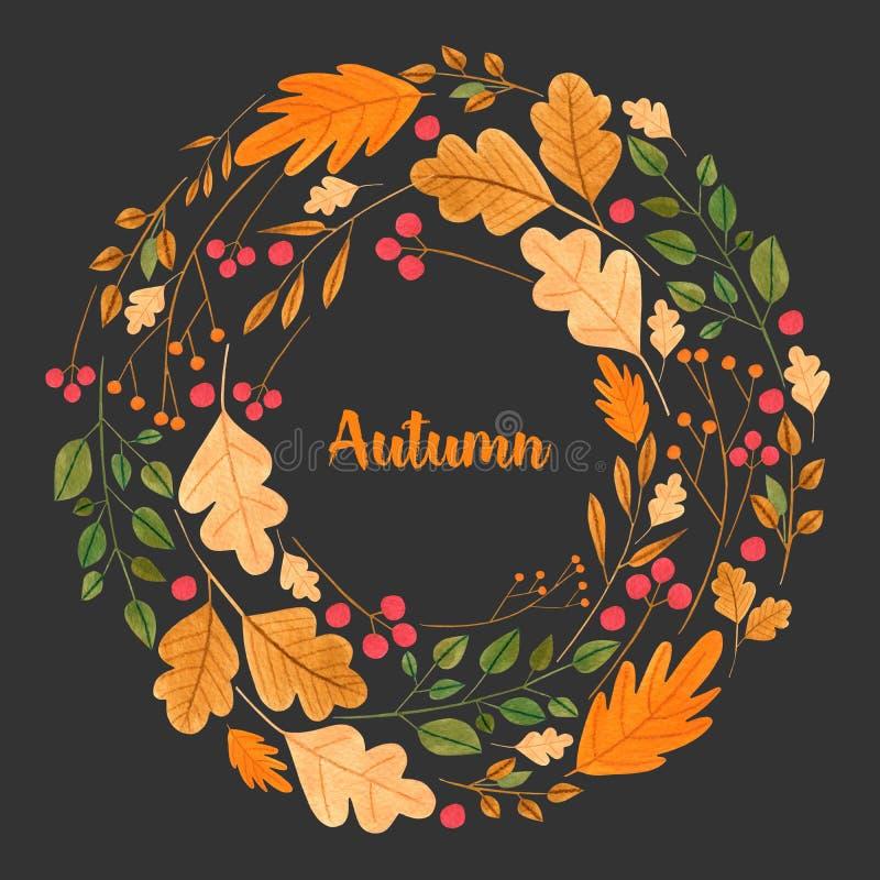 Foglie di autunno semplici dell'acquerello e corona floreale dei rami illustrazione vettoriale