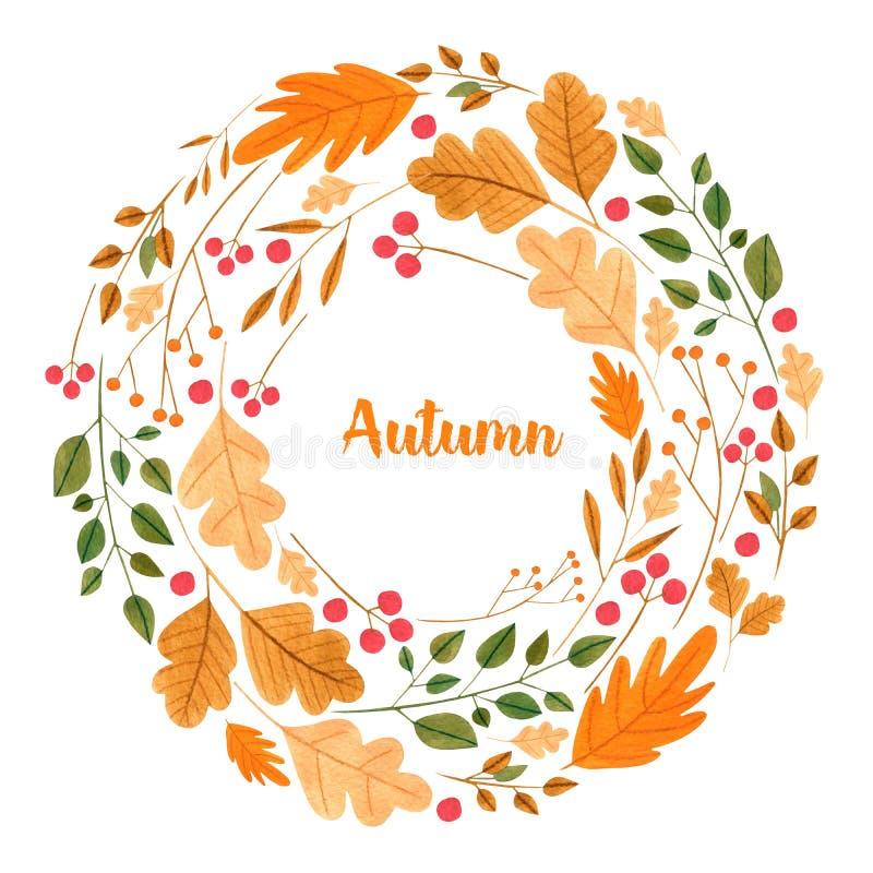 Foglie di autunno semplici dell'acquerello e corona floreale dei rami illustrazione di stock