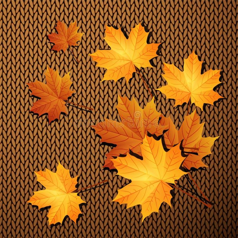 Foglie di autunno su un fondo di tricottare royalty illustrazione gratis