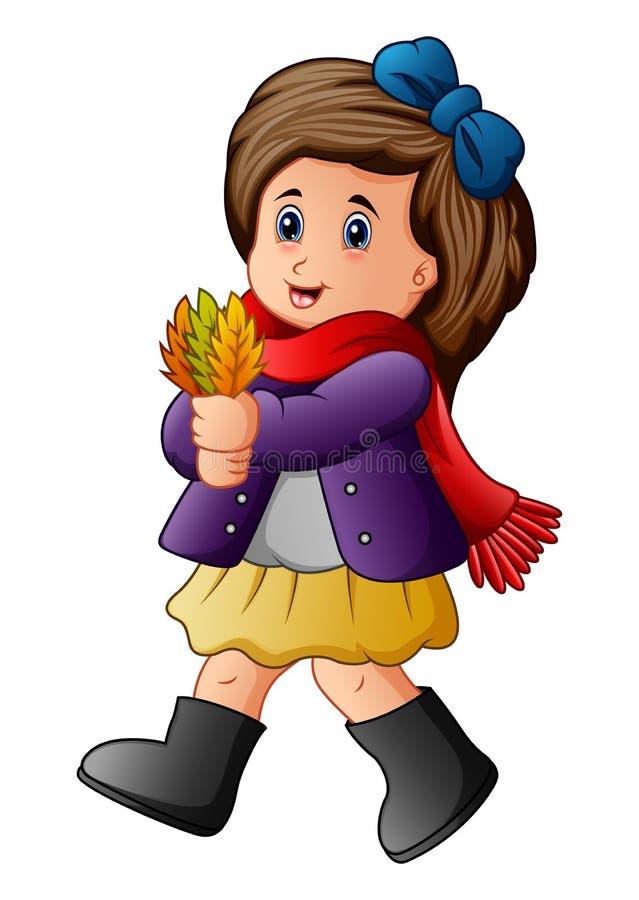Foglie di autunno sveglie della tenuta della bambina illustrazione vettoriale