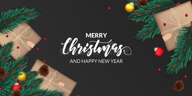 Foglie di avena decorate con pigna, sfera di bauble, presente casella per cartellone natalizio illustrazione vettoriale