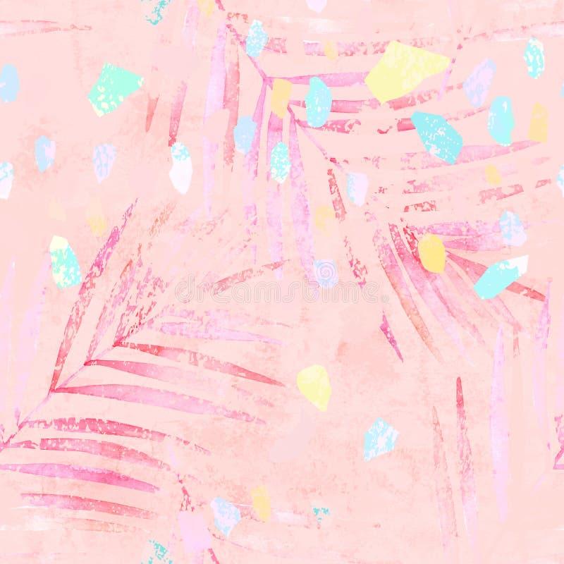 Foglie di palma artistiche dell'acquerello, modello senza cuciture colorato pastello dei coriandoli illustrazione di stock