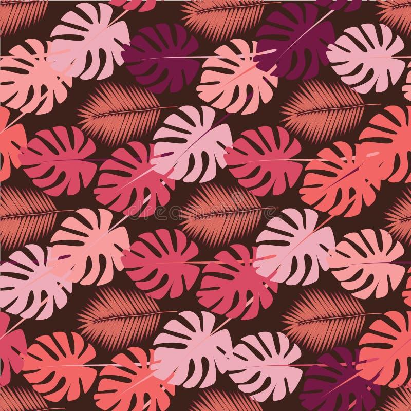 Foglie di palma astratte per progettazione del tessuto Fondo variopinto di estate minima Palma tropicale esotica Fondo verde royalty illustrazione gratis