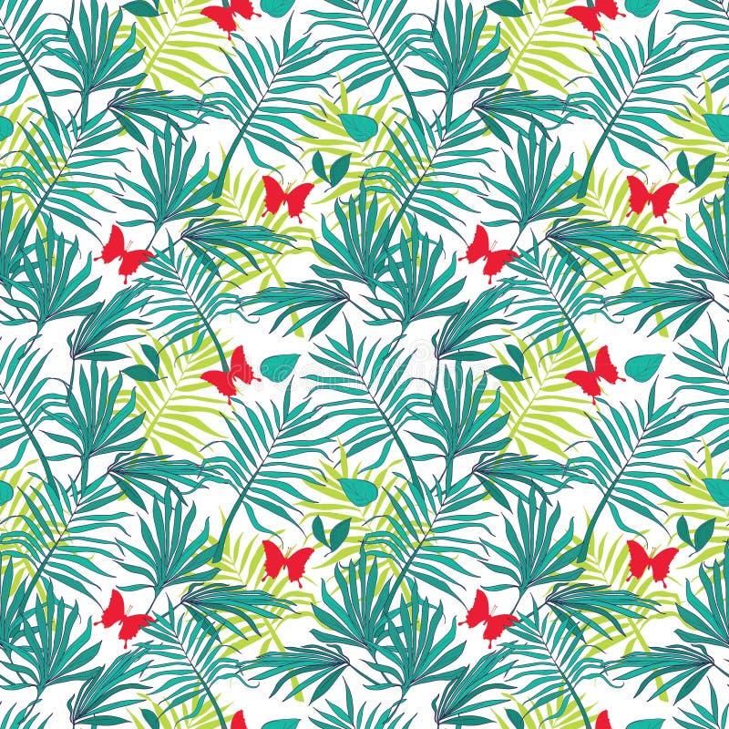 Foglie di palma e farfalle senza cuciture del modello illustrazione di stock