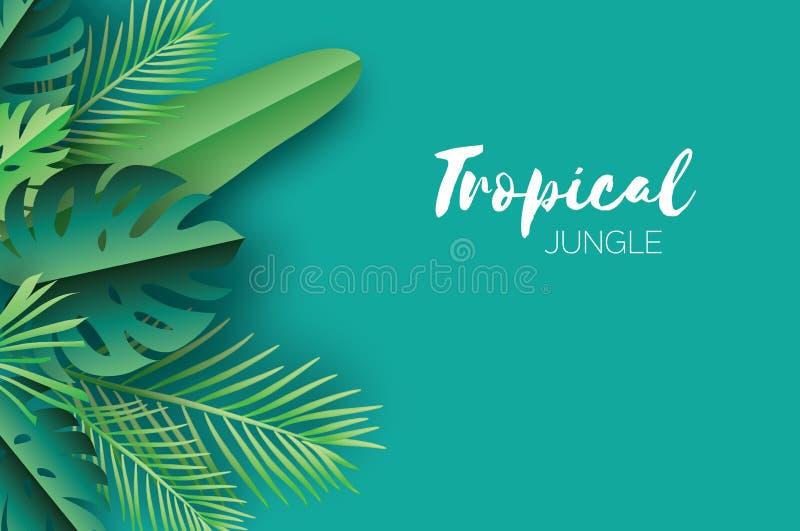 Foglie di palma tropicali di estate d'avanguardia, piante stile del taglio della carta Estate hawaiana esotica Spazio per testo B illustrazione vettoriale