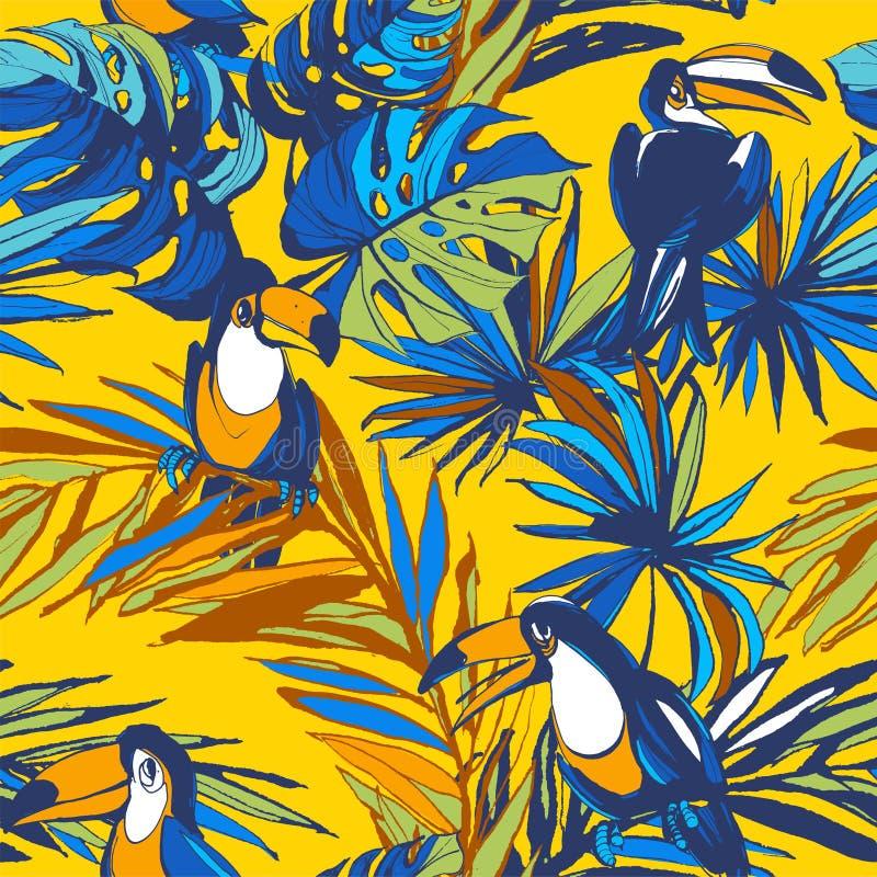 Foglie di palma tropicali disegnate a mano dell'inchiostro senza cuciture del modello, uccelli del tucano illustrazione di stock