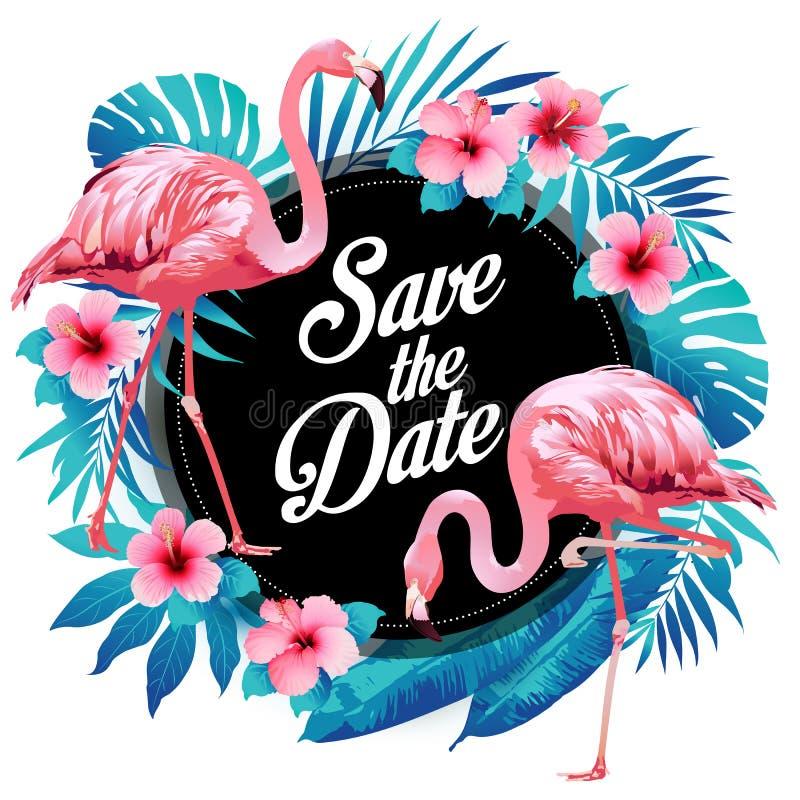 Foglie di palma tropicali di estate blu con i fiori esotici dell'ibisco e del fenicottero Priorità bassa floreale di vettore royalty illustrazione gratis