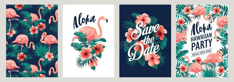 Foglie di palma tropicali di estate con i fiori esotici dell'ibisco e del fenicottero Modelli di vettore Progetti l'elemento per  illustrazione di stock