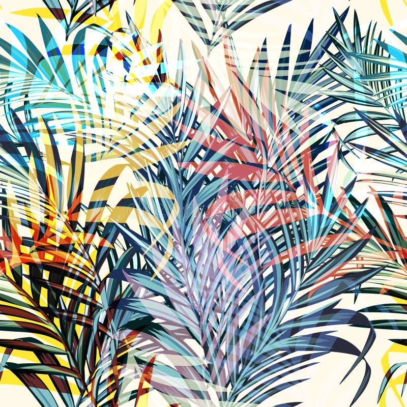 Foglie di palma tropicali di vettore variopinto, stile di vacanza Ideale per royalty illustrazione gratis
