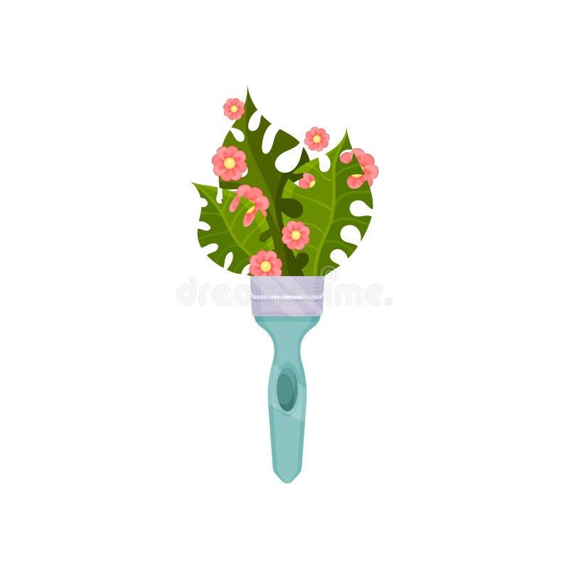 Foglie di palma verdi e piccoli fiori rosa in manico per pennelli blu Composizione naturale in vettore Icona piana di vettore illustrazione vettoriale