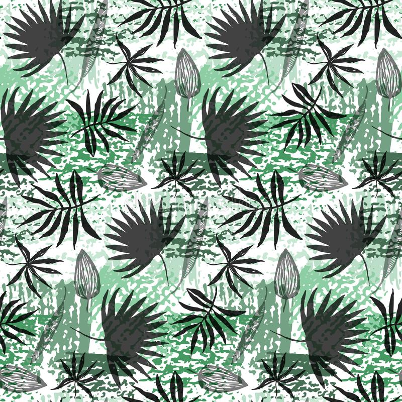 Foglie disegnate a mano nere e modello verde di lerciume royalty illustrazione gratis