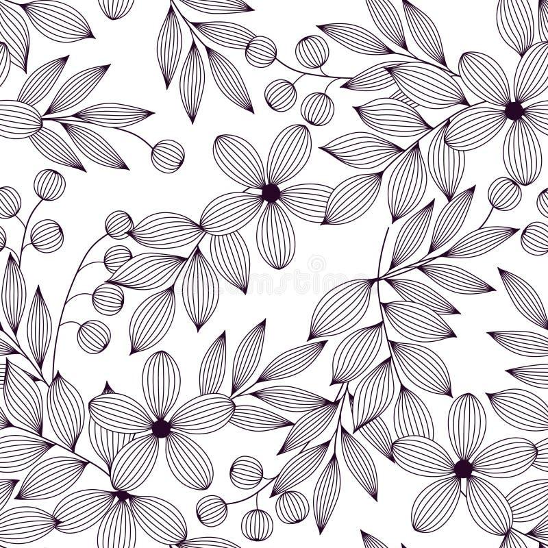 Foglie e fiori e bacche eleganti in bianco e nero modello senza cuciture, vettore illustrazione vettoriale