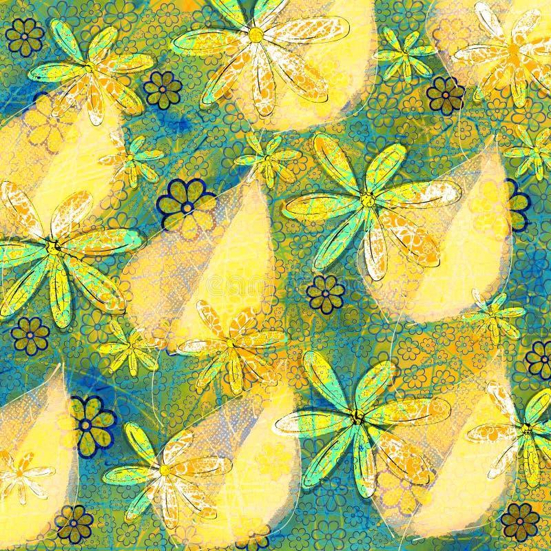 Foglie e fiori tropicali illustrazione di stock