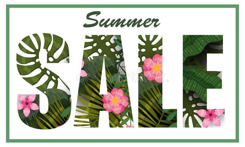 Foglie e fiori tropicali d'avanguardia di vendita di estate Progettazione modello del fondo delle piante e dei fiori esotici dell royalty illustrazione gratis
