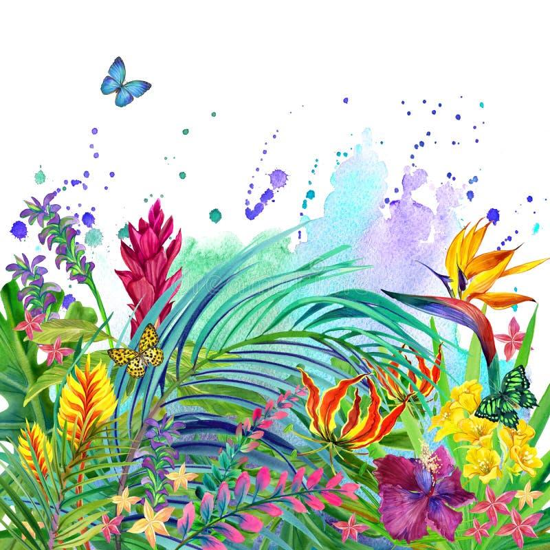 Foglie e fondo tropicali dei fiori illustrazione di stock