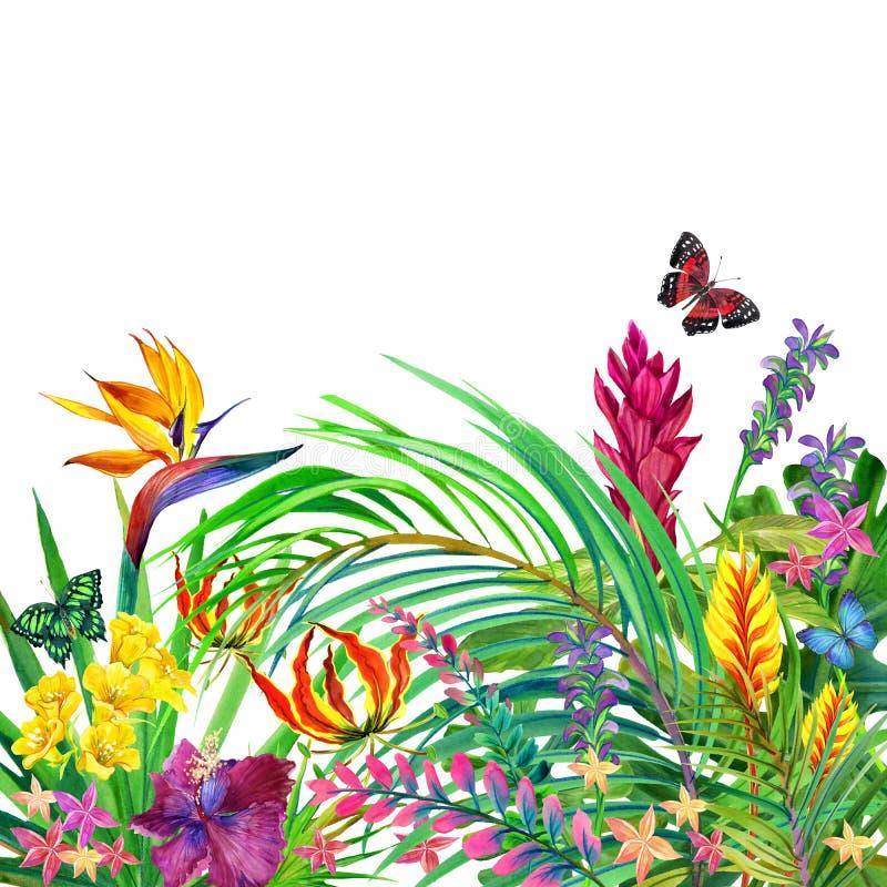 Foglie e fondo tropicali dei fiori royalty illustrazione gratis
