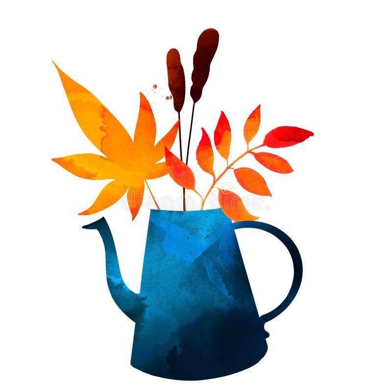 Foglie e rami di autunno in barattolo blu, illustrazione di caduta con struttura dell'acquerello illustrazione vettoriale
