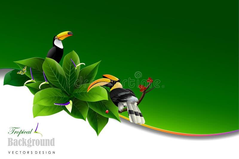 Foglie ed animale tropicali illustrazione vettoriale