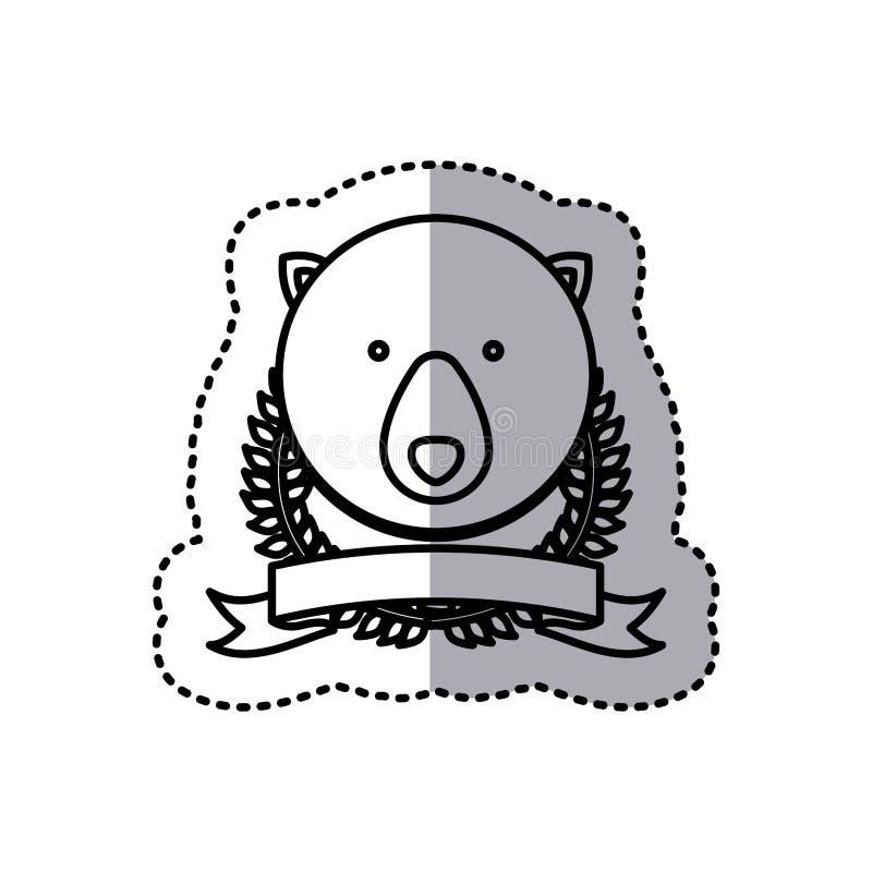 foglie ed etichetta della corona della siluetta dell'autoadesivo con l'animale dell'orso royalty illustrazione gratis