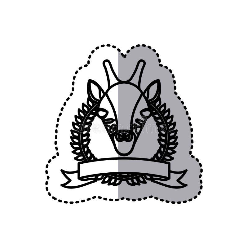 foglie ed etichetta della corona della siluetta dell'autoadesivo con l'animale della giraffa illustrazione vettoriale