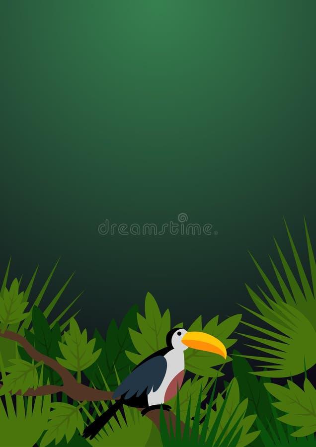 Foglie ed insegna tropicali del tucano royalty illustrazione gratis