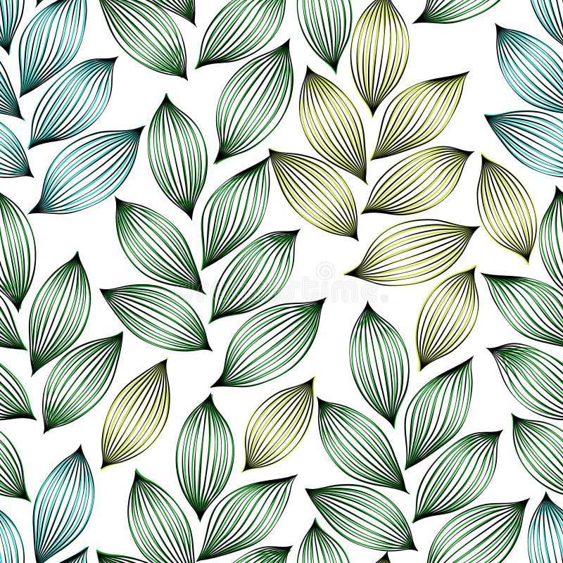 Foglie eleganti verdi con le vene modello senza cuciture, vettore illustrazione di stock