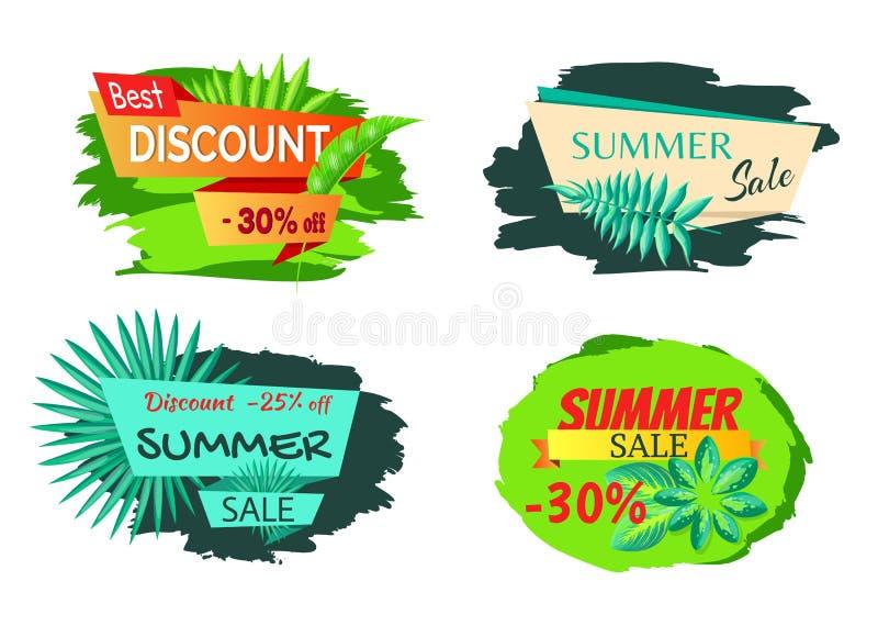 Foglie esotiche sulla migliore vendita di estate di sconto dell'autoadesivo illustrazione di stock