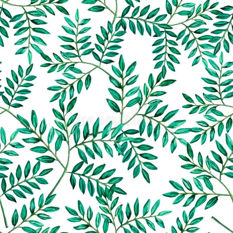 Foglie senza cuciture dell'acquerello di verde del modello illustrazione di stock