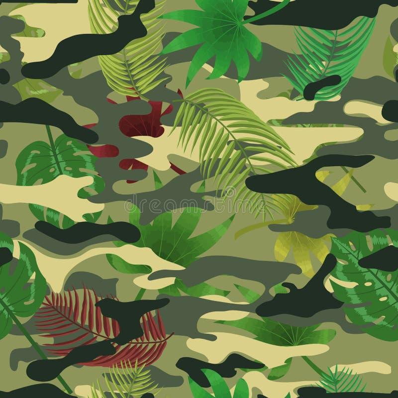 Foglie tropicali di camo militare fotografie stock