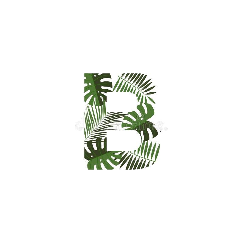 Foglie tropicali di Logo Letter B di vettore royalty illustrazione gratis