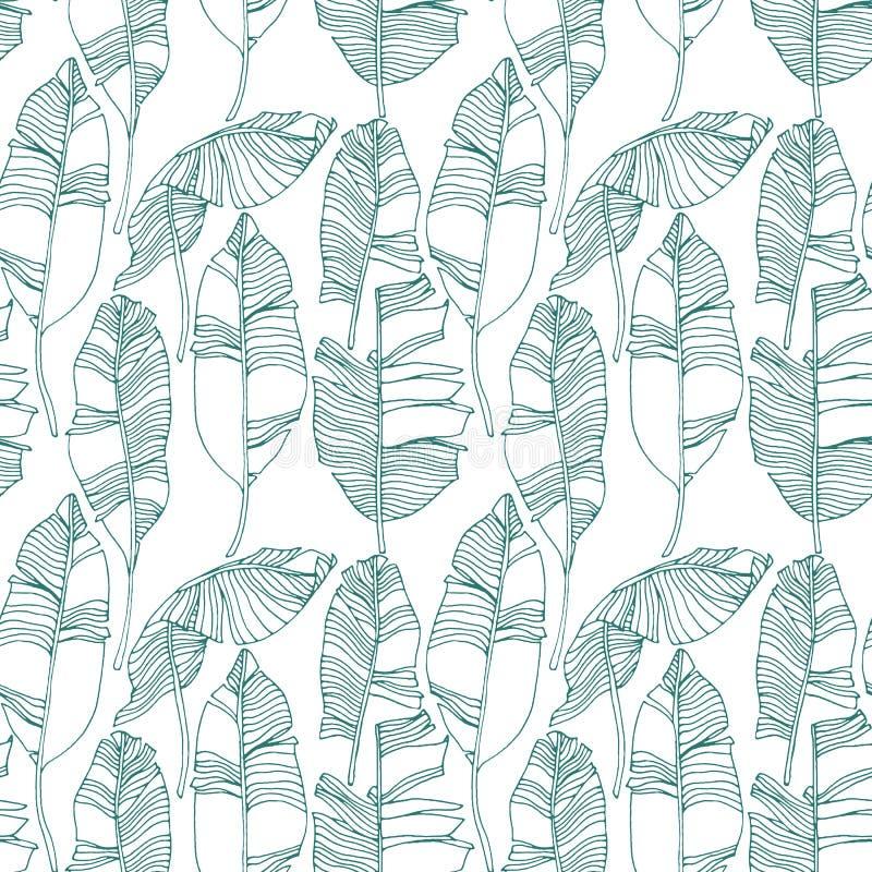 Foglie tropicali, modello della giungla Modello senza cuciture, dettagliato, botanico Fondo di vettore royalty illustrazione gratis
